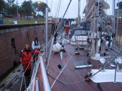 The first lock int the Kiel Canal early in the morning.