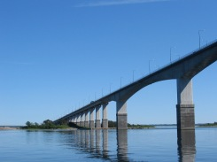 The Öland Bridge at Swedish coast.