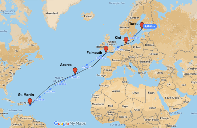 The route: St.Martin - Azores - Falmouth - Kiel - Turku