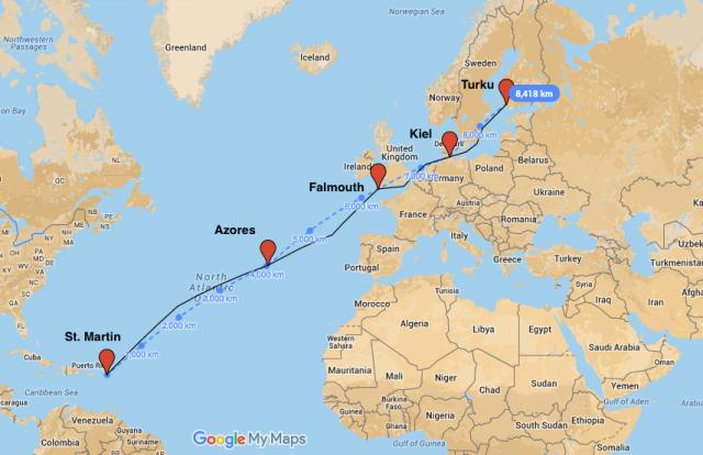 The route: St.Martin - Azores - Falmouth - Kiel - Turku