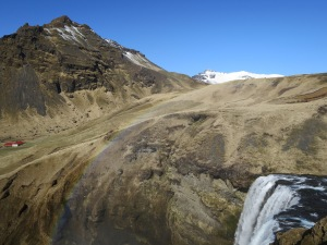 Skógafoss waterfall with a drop of 60 meters.