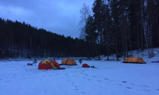 Our camp on the one and only snow patch at Kelvenne.