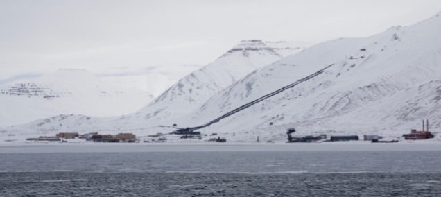 Pyramiden from sea.