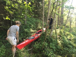 A shorter kayak would have been easier to carry in the woods.